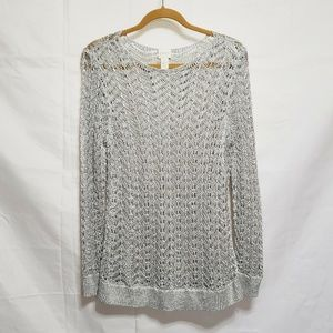Chico's Silver Open Knit Sweater Size 1 Medium